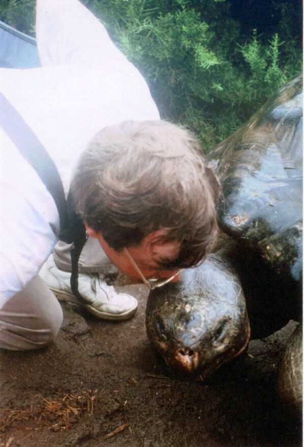 the author with a Galapagos tortoise who was alive during Darwin's lifetime